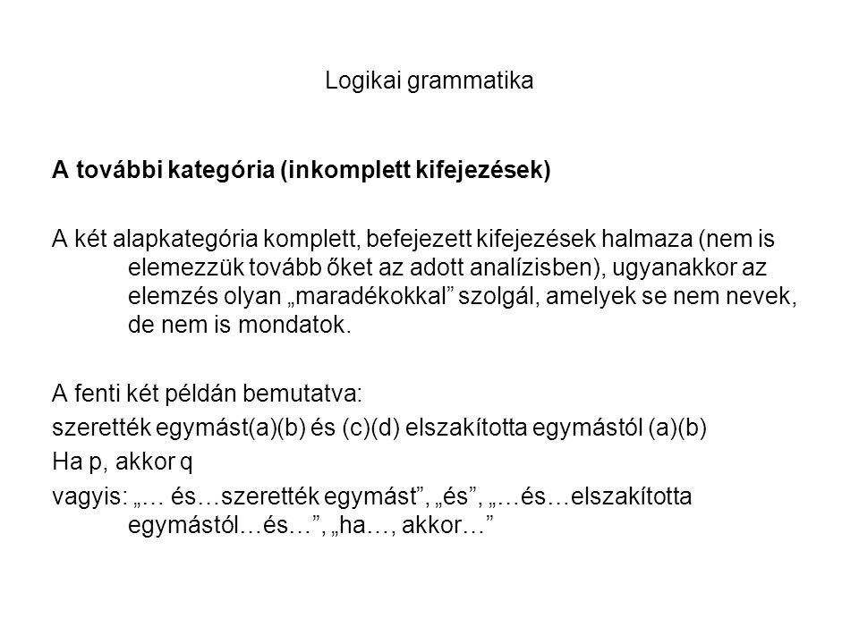 Logikai grammatika A további kategória (inkomplett kifejezések) A két alapkategória komplett, befejezett kifejezések halmaza (nem is elemezzük tovább