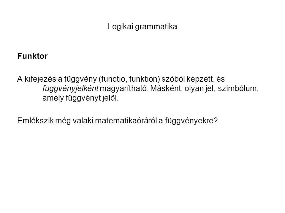 Logikai grammatika Funktor A kifejezés a függvény (functio, funktion) szóból képzett, és függvényjelként magyarítható. Másként, olyan jel, szimbólum,