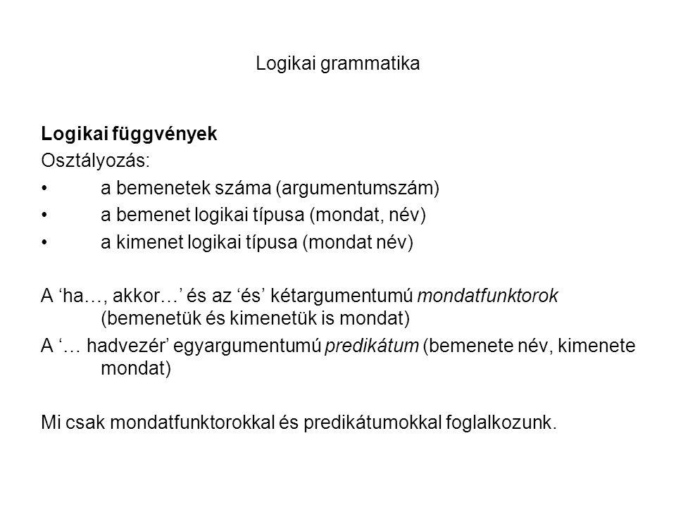 Logikai grammatika Logikai függvények Osztályozás: a bemenetek száma (argumentumszám) a bemenet logikai típusa (mondat, név) a kimenet logikai típusa