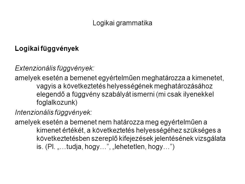 Logikai grammatika Logikai függvények Extenzionális függvények: amelyek esetén a bemenet egyértelműen meghatározza a kimenetet, vagyis a következtetés