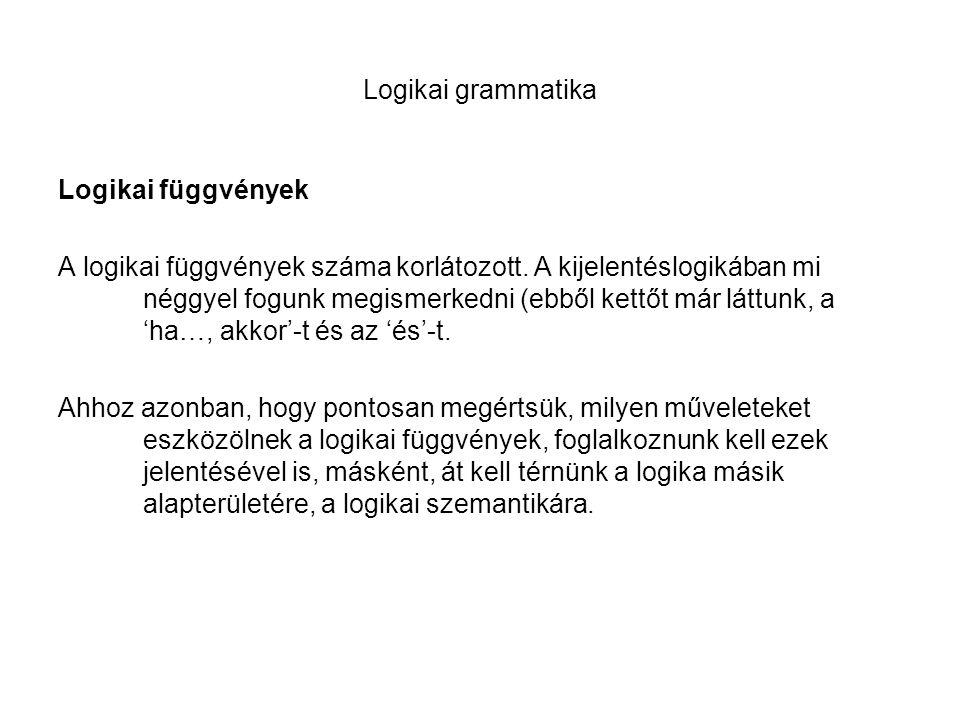 Logikai grammatika Logikai függvények A logikai függvények száma korlátozott. A kijelentéslogikában mi néggyel fogunk megismerkedni (ebből kettőt már