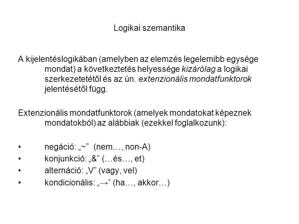 Logikai szemantika A kijelentéslogikában (amelyben az elemzés legelemibb egysége mondat) a következtetés helyessége kizárólag a logikai szerkezetetétő