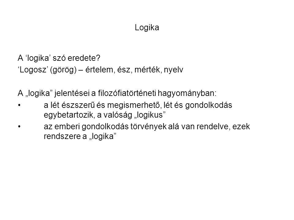 """Logika A 'logika' szó eredete? 'Logosz' (görög) – értelem, ész, mérték, nyelv A """"logika"""" jelentései a filozófiatörténeti hagyományban: a lét észszerű"""