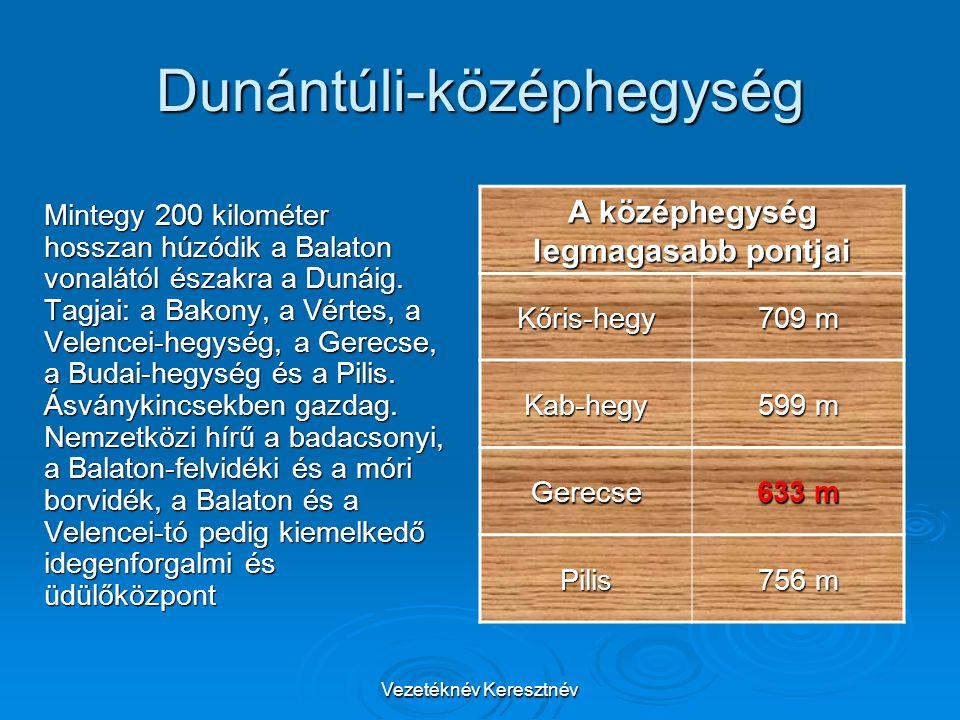 Vezetéknév Keresztnév Dunántúli-középhegység Mintegy 200 kilométer hosszan húzódik a Balaton vonalától északra a Dunáig. Tagjai: a Bakony, a Vértes, a