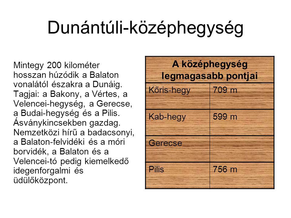 Dunántúli-középhegység Mintegy 200 kilométer hosszan húzódik a Balaton vonalától északra a Dunáig. Tagjai: a Bakony, a Vértes, a Velencei-hegység, a G