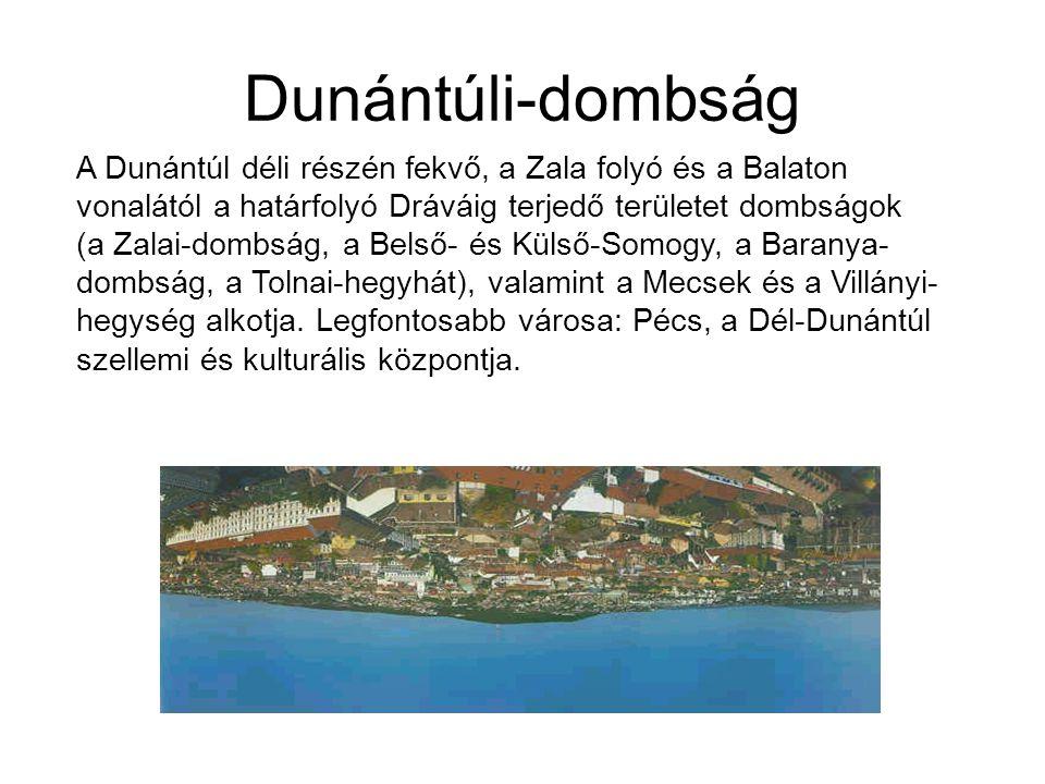 Dunántúli-dombság A Dunántúl déli részén fekvő, a Zala folyó és a Balaton vonalától a határfolyó Dráváig terjedő területet dombságok (a Zalai-dombság,