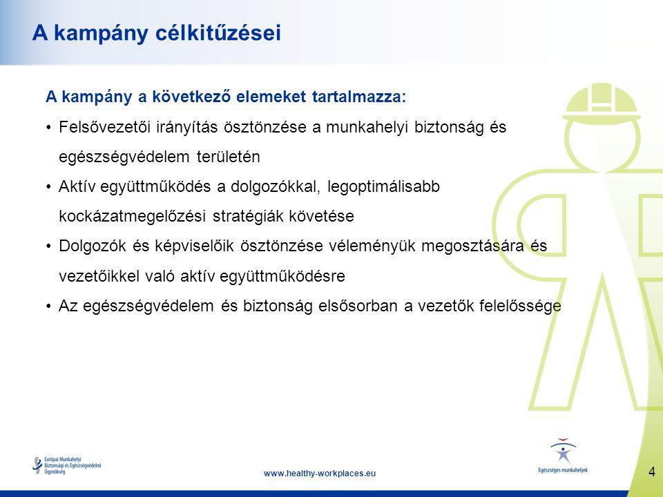 4 www.healthy-workplaces.eu A kampány célkitűzései A kampány a következő elemeket tartalmazza: Felsővezetői irányítás ösztönzése a munkahelyi biztonság és egészségvédelem területén Aktív együttműködés a dolgozókkal, legoptimálisabb kockázatmegelőzési stratégiák követése Dolgozók és képviselőik ösztönzése véleményük megosztására és vezetőikkel való aktív együttműködésre Az egészségvédelem és biztonság elsősorban a vezetők felelőssége
