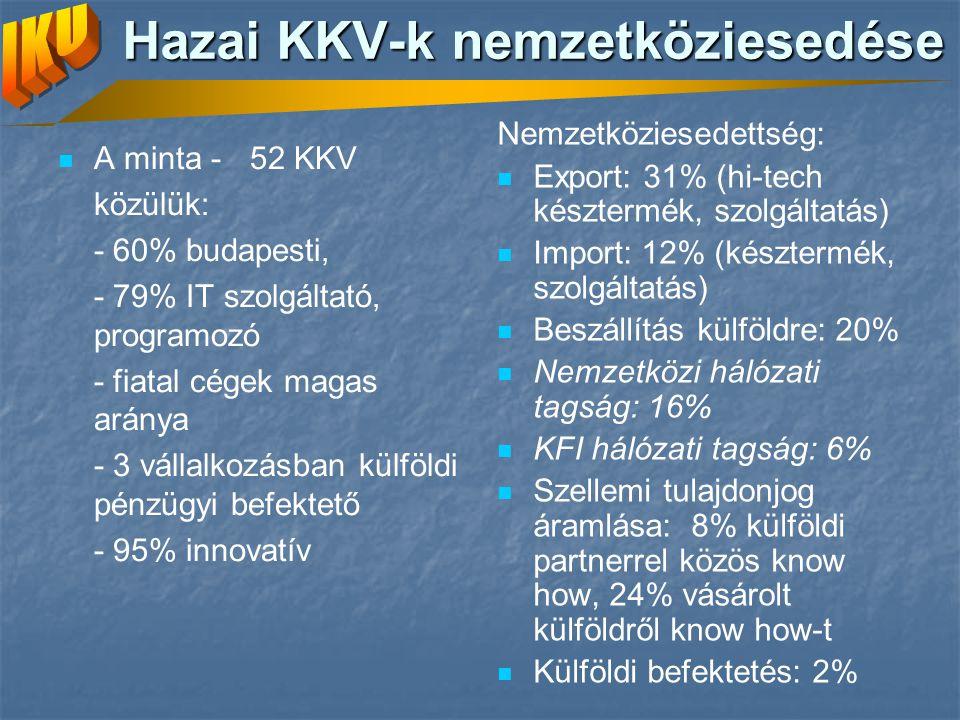 Hazai KKV-k nemzetköziesedése A minta - 52 KKV közülük: - 60% budapesti, - 79% IT szolgáltató, programozó - fiatal cégek magas aránya - 3 vállalkozásban külföldi pénzügyi befektető - 95% innovatív Nemzetköziesedettség: Export: 31% (hi-tech késztermék, szolgáltatás) Import: 12% (késztermék, szolgáltatás) Beszállítás külföldre: 20% Nemzetközi hálózati tagság: 16% KFI hálózati tagság: 6% Szellemi tulajdonjog áramlása: 8% külföldi partnerrel közös know how, 24% vásárolt külföldről know how-t Külföldi befektetés: 2%