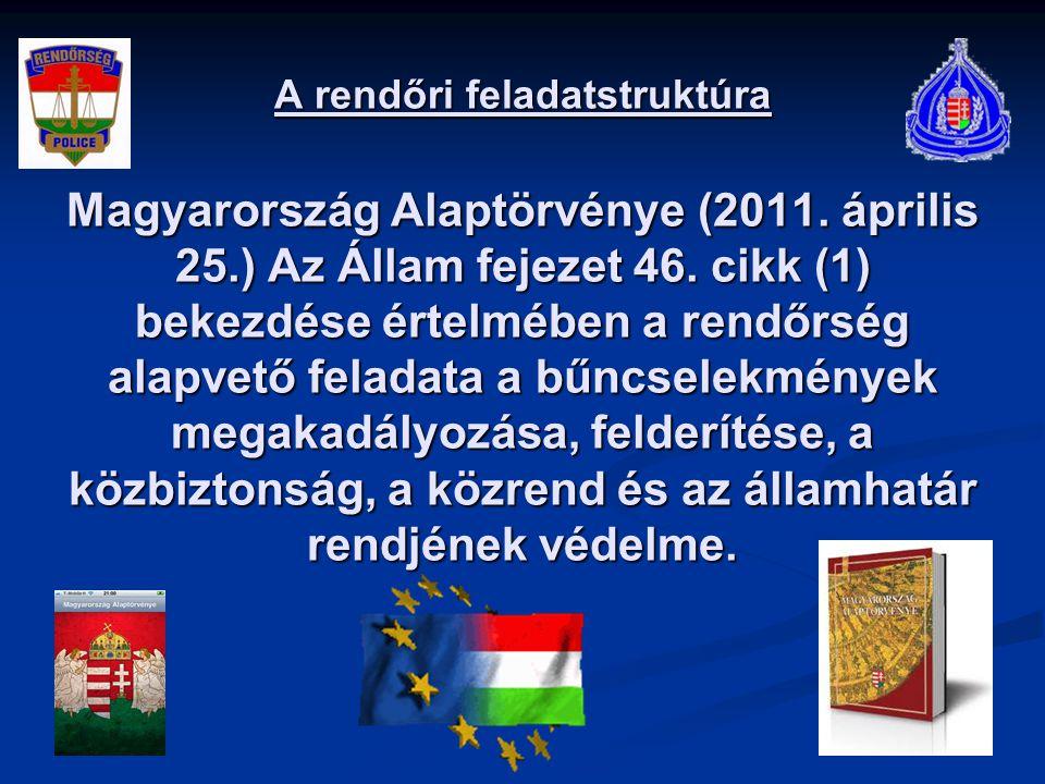 A rendőri feladatstruktúra Magyarország Alaptörvénye (2011. április 25.) Az Állam fejezet 46. cikk (1) bekezdése értelmében a rendőrség alapvető felad