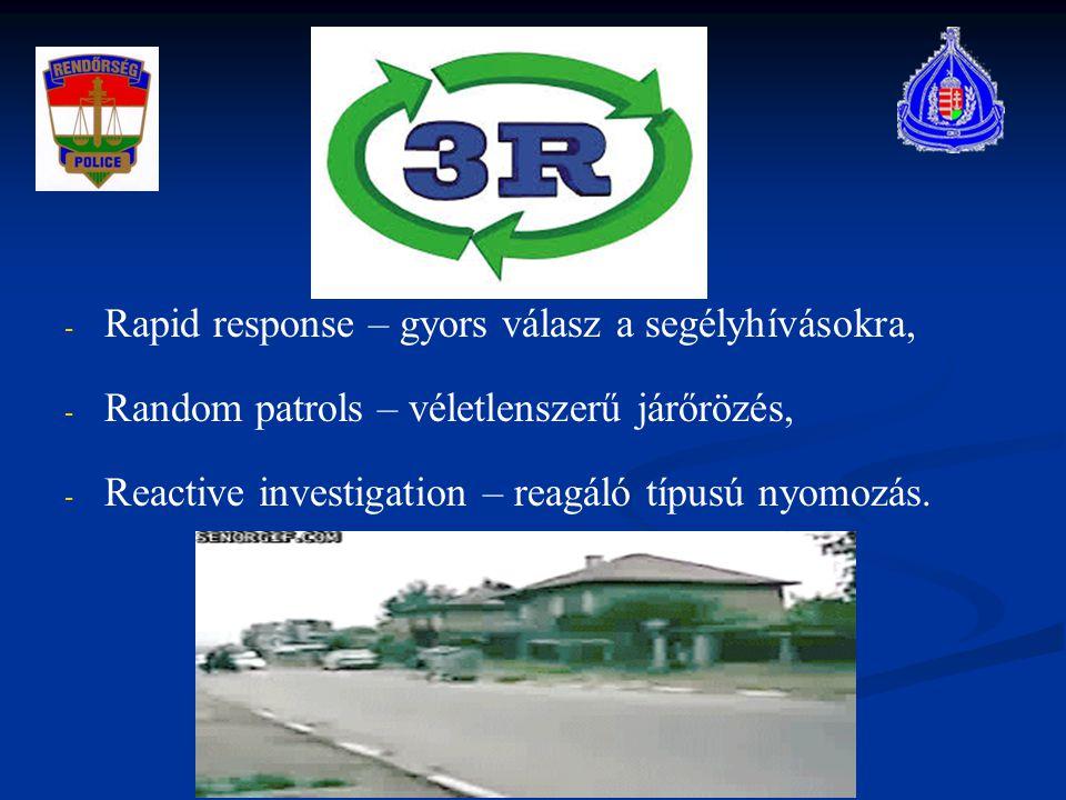 - - Rapid response – gyors válasz a segélyhívásokra, - - Random patrols – véletlenszerű járőrözés, - - Reactive investigation – reagáló típusú nyomozá