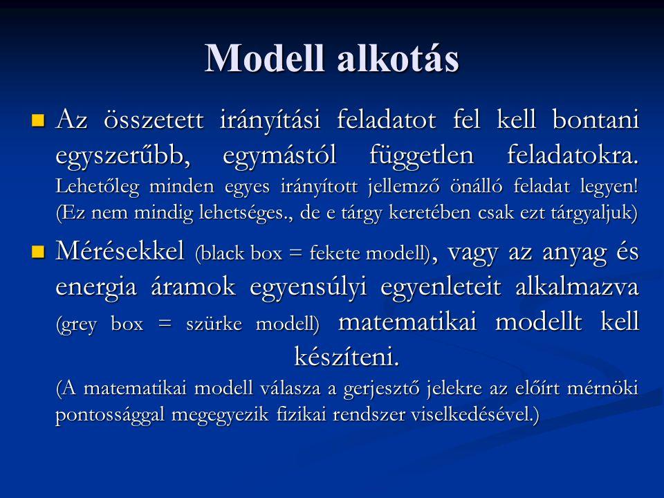 Modell alkotás Az összetett irányítási feladatot fel kell bontani egyszerűbb, egymástól független feladatokra. Lehetőleg minden egyes irányított jelle