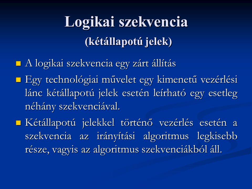 Logikai szekvencia (kétállapotú jelek) A logikai szekvencia egy zárt állítás A logikai szekvencia egy zárt állítás Egy technológiai művelet egy kimenetű vezérlési lánc kétállapotú jelek esetén leírható egy esetleg néhány szekvenciával.