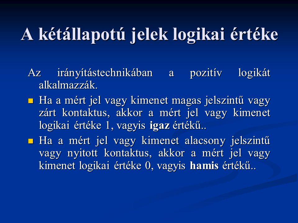 A kétállapotú jelek logikai értéke Az irányítástechnikában a pozitív logikát alkalmazzák.