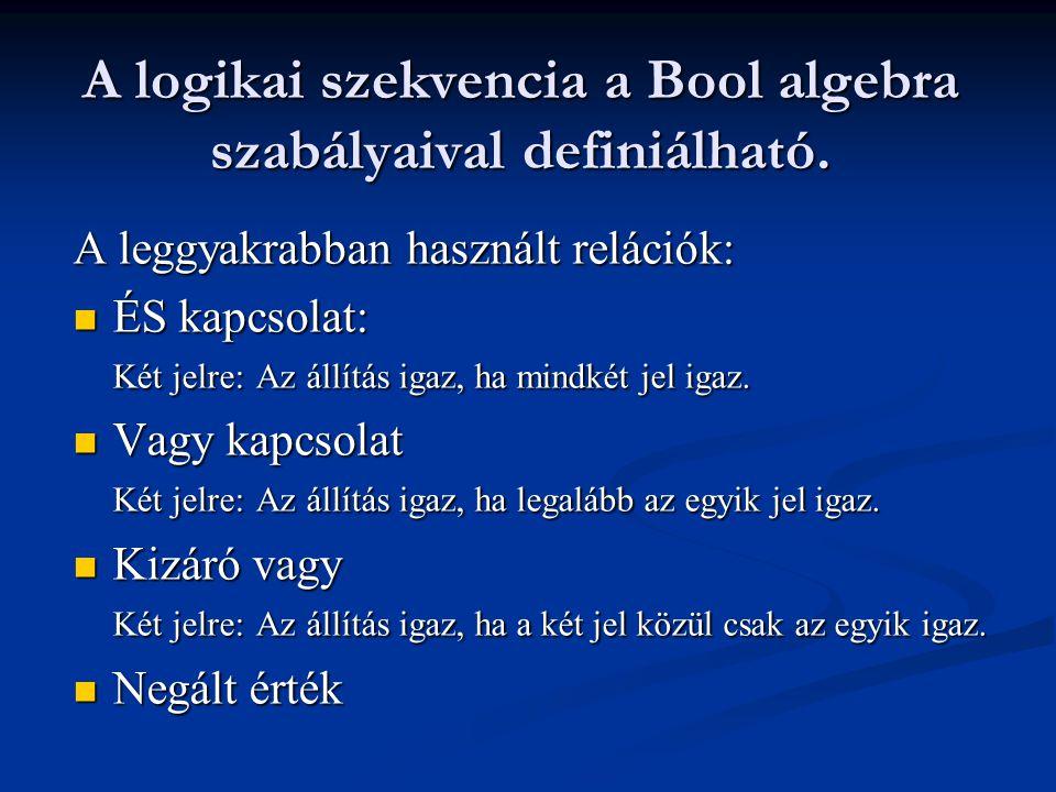 A logikai szekvencia a Bool algebra szabályaival definiálható. A leggyakrabban használt relációk: ÉS kapcsolat: Két jelre: Az állítás igaz, ha mindkét