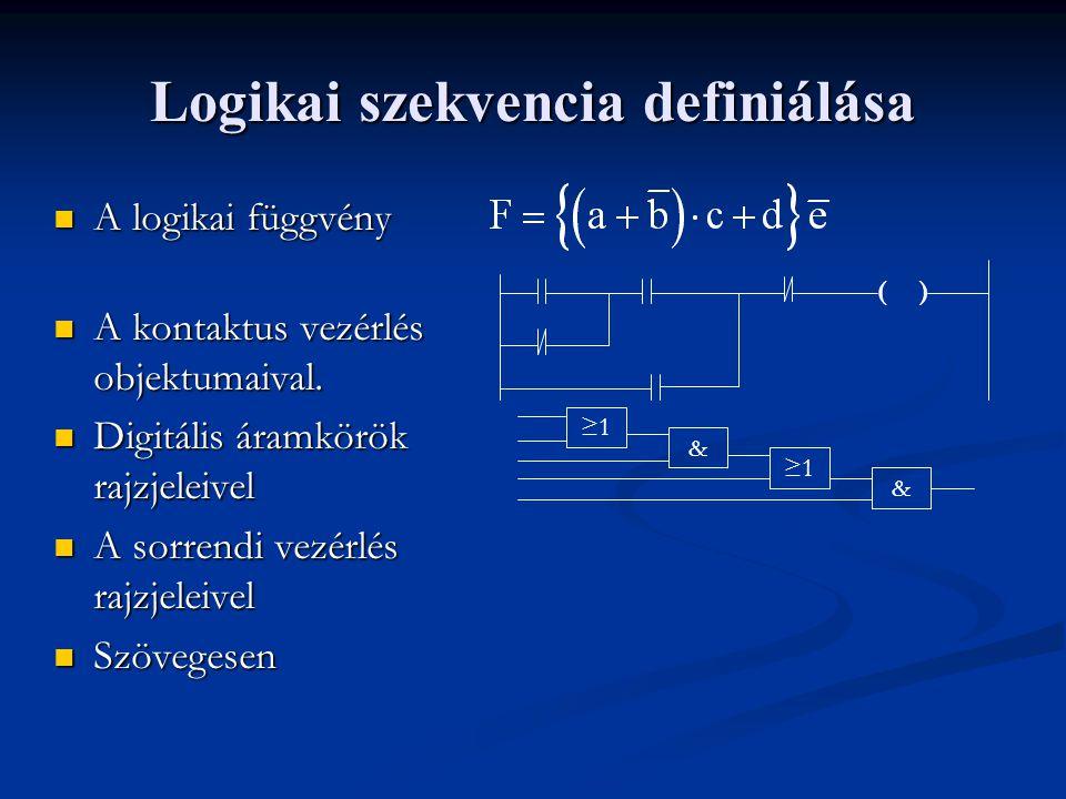 Logikai szekvencia definiálása A logikai függvény A logikai függvény A kontaktus vezérlés objektumaival.