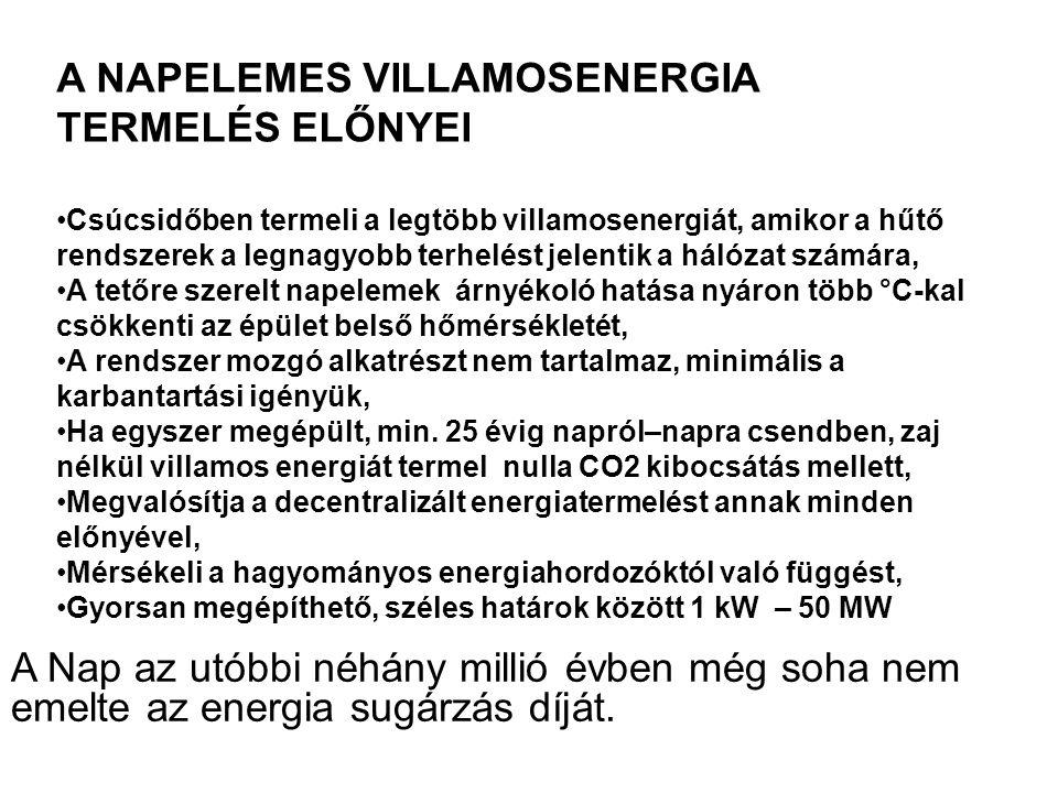 A NAPELEMES VILLAMOSENERGIA TERMELÉS ELŐNYEI Csúcsidőben termeli a legtöbb villamosenergiát, amikor a hűtő rendszerek a legnagyobb terhelést jelentik