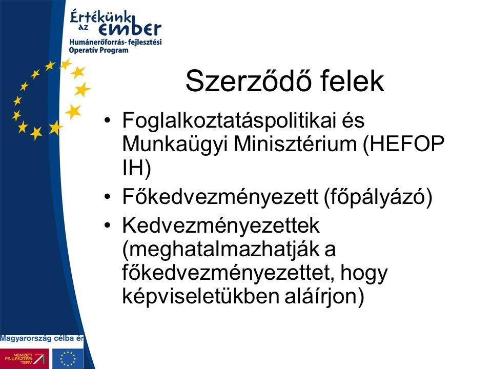 Szerződő felek Foglalkoztatáspolitikai és Munkaügyi Minisztérium (HEFOP IH) Főkedvezményezett (főpályázó) Kedvezményezettek (meghatalmazhatják a főked