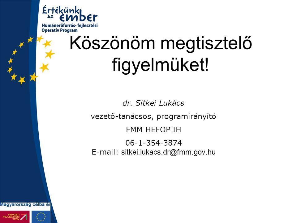Köszönöm megtisztelő figyelmüket! dr. Sitkei Lukács vezető-tanácsos, programirányító FMM HEFOP IH 06-1-354-3874 E-mail: sitkei.lukacs.dr@fmm.gov.hu
