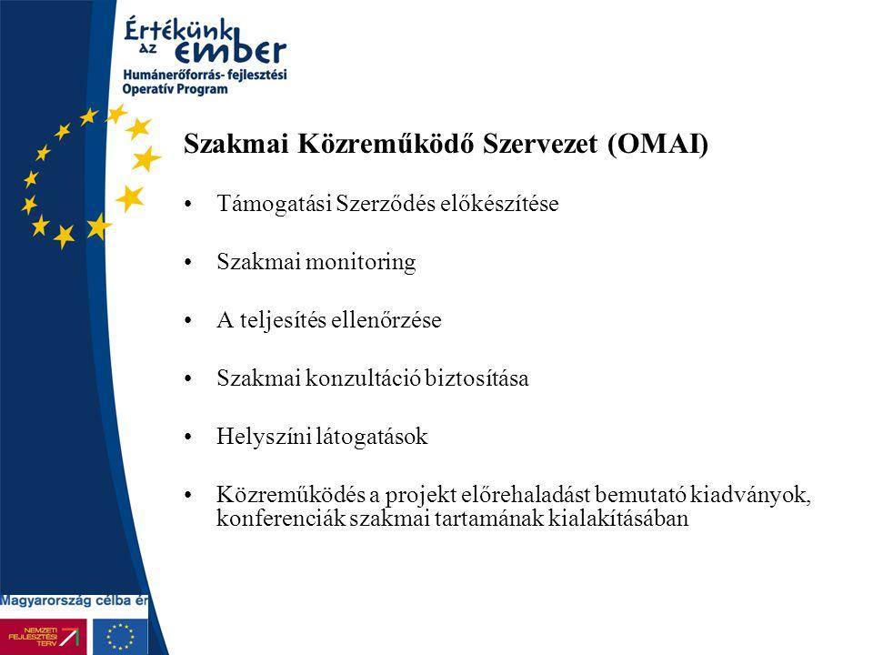 Szakmai Közreműködő Szervezet (OMAI) Támogatási Szerződés előkészítése Szakmai monitoring A teljesítés ellenőrzése Szakmai konzultáció biztosítása Hel