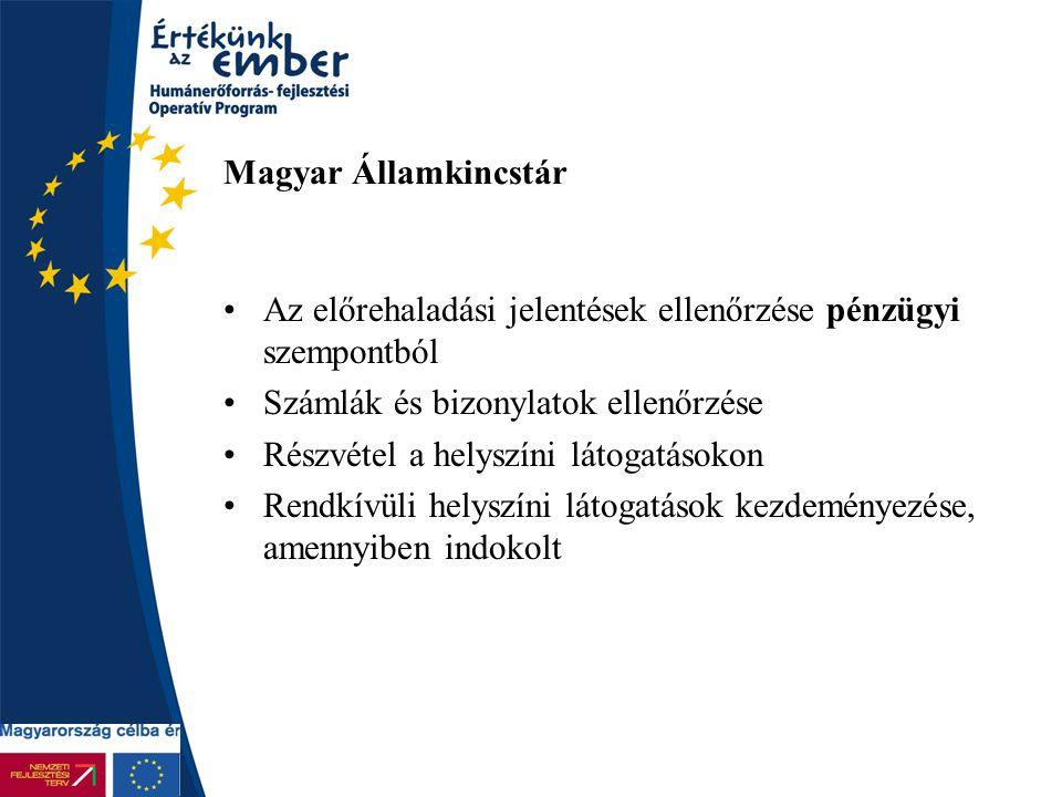 Magyar Államkincstár Az előrehaladási jelentések ellenőrzése pénzügyi szempontból Számlák és bizonylatok ellenőrzése Részvétel a helyszíni látogatások