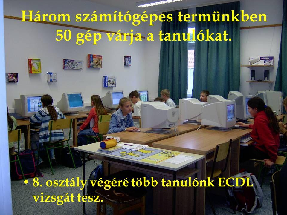 Három számítógépes termünkben 50 gép várja a tanulókat. 8. osztály végéré több tanulónk ECDL vizsgát tesz.