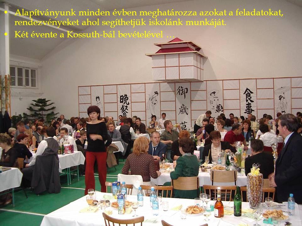 Alapítványunk minden évben meghatározza azokat a feladatokat, rendezvényeket ahol segíthetjük iskolánk munkáját. Két évente a Kossuth-bál bevételével