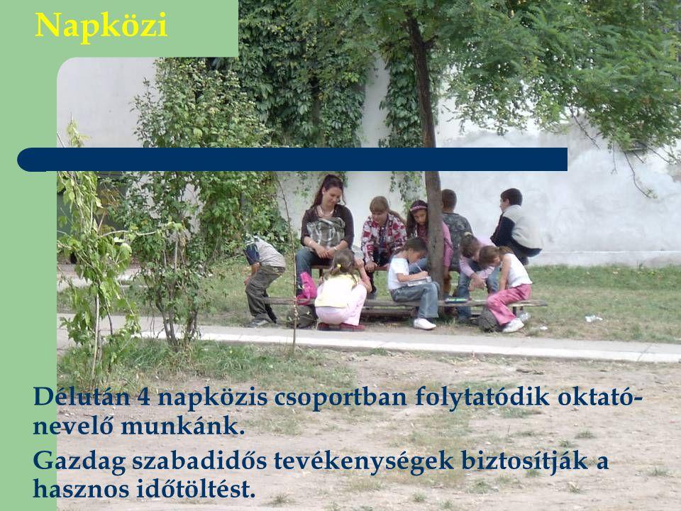 Napközi Délután 4 napközis csoportban folytatódik oktató- nevelő munkánk. Gazdag szabadidős tevékenységek biztosítják a hasznos időtöltést.