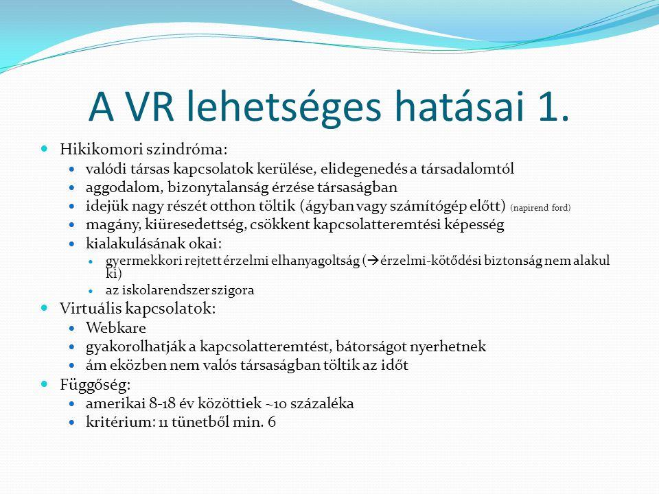 A VR lehetséges hatásai 1.