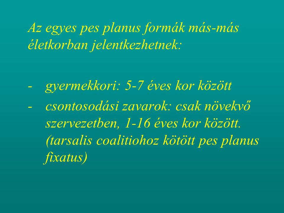 Az egyes pes planus formák más-más életkorban jelentkezhetnek: - gyermekkori: 5-7 éves kor között -csontosodási zavarok: csak növekvő szervezetben, 1-