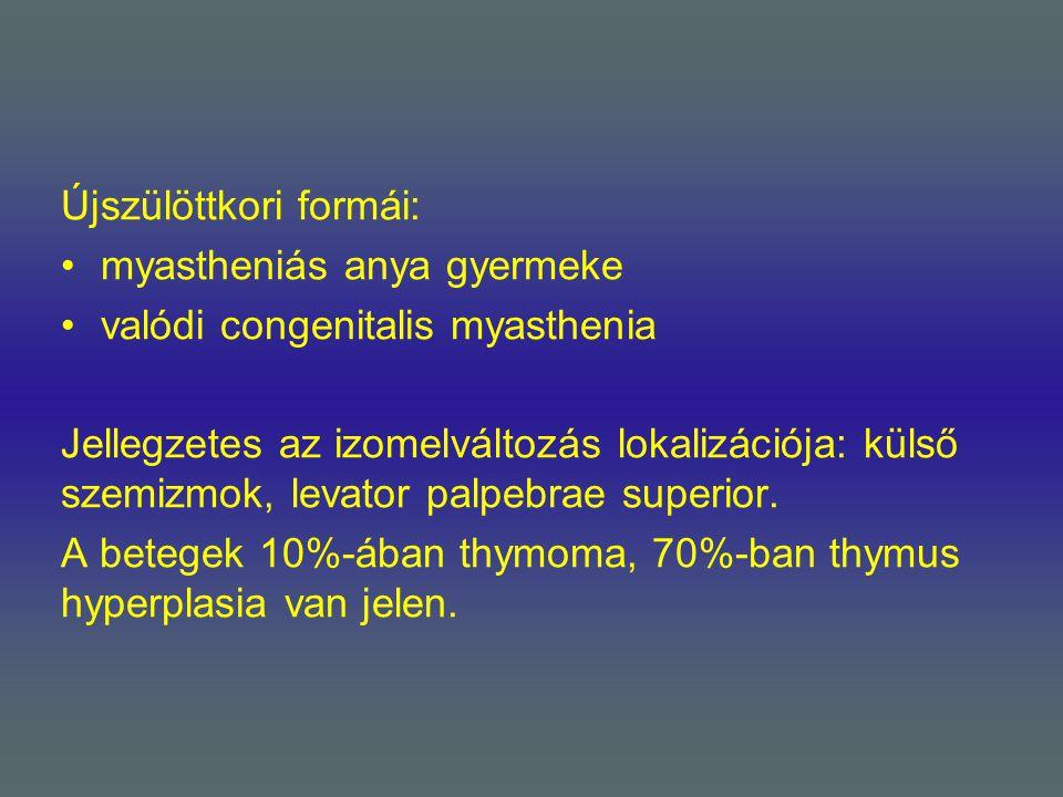Újszülöttkori formái: myastheniás anya gyermeke valódi congenitalis myasthenia Jellegzetes az izomelváltozás lokalizációja: külső szemizmok, levator p