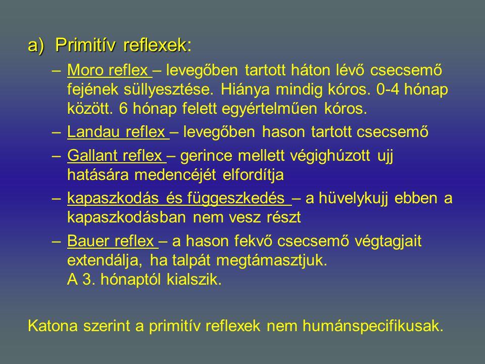 a)Primitív reflexek a)Primitív reflexek: –Moro reflex – levegőben tartott háton lévő csecsemő fejének süllyesztése. Hiánya mindig kóros. 0-4 hónap köz
