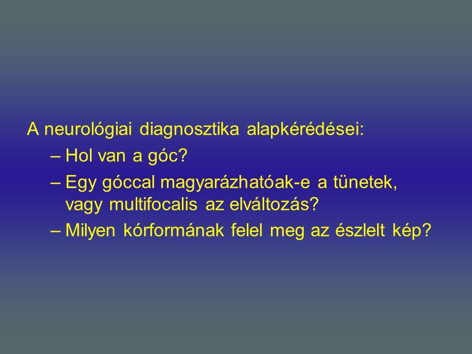 A neurológiai diagnosztika alapkérédései: –Hol van a góc? –Egy góccal magyarázhatóak-e a tünetek, vagy multifocalis az elváltozás? –Milyen kórformának