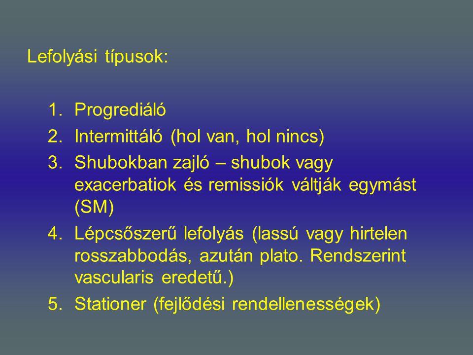 Lefolyási típusok: 1.Progrediáló 2.Intermittáló (hol van, hol nincs) 3.Shubokban zajló – shubok vagy exacerbatiok és remissiók váltják egymást (SM) 4.