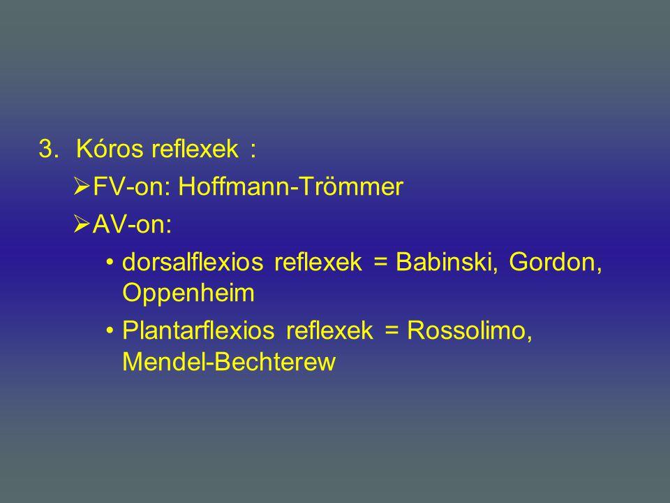 3.Kóros reflexek :  FV-on: Hoffmann-Trömmer  AV-on: dorsalflexios reflexek = Babinski, Gordon, Oppenheim Plantarflexios reflexek = Rossolimo, Mendel