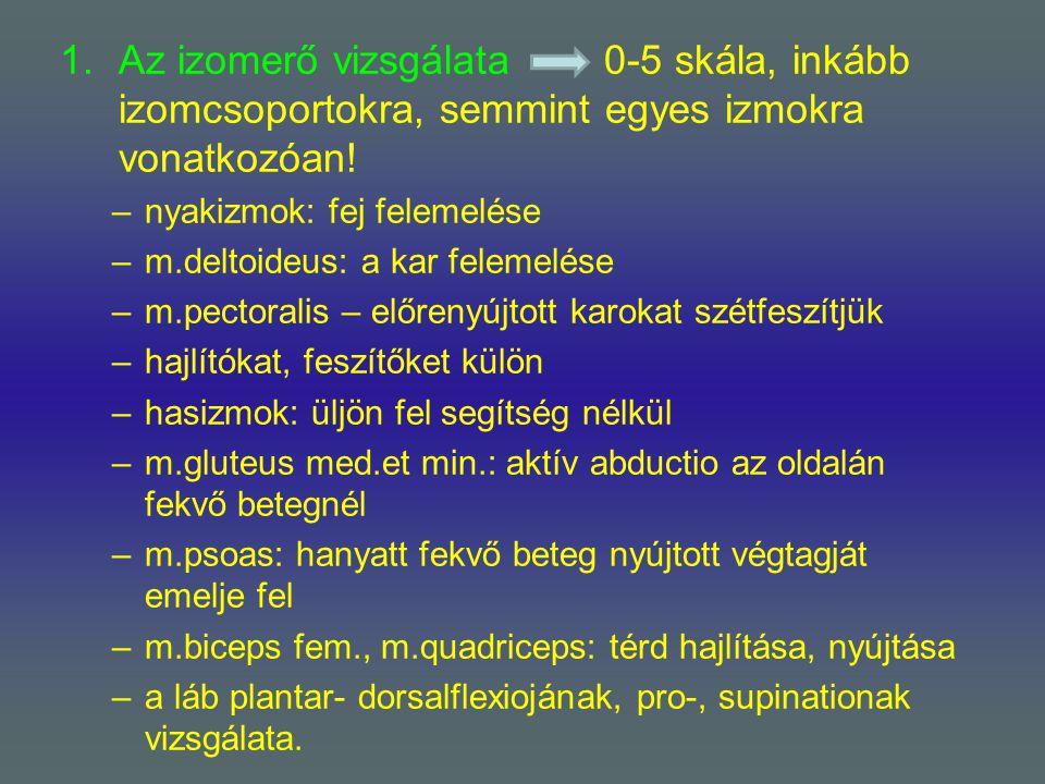 1.Az izomerő vizsgálata 0-5 skála, inkább izomcsoportokra, semmint egyes izmokra vonatkozóan! –nyakizmok: fej felemelése –m.deltoideus: a kar felemelé