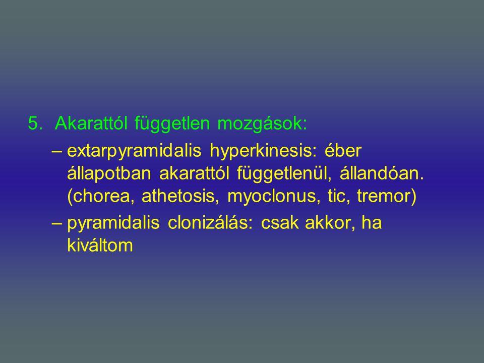 5.Akarattól független mozgások: –extarpyramidalis hyperkinesis: éber állapotban akarattól függetlenül, állandóan. (chorea, athetosis, myoclonus, tic,