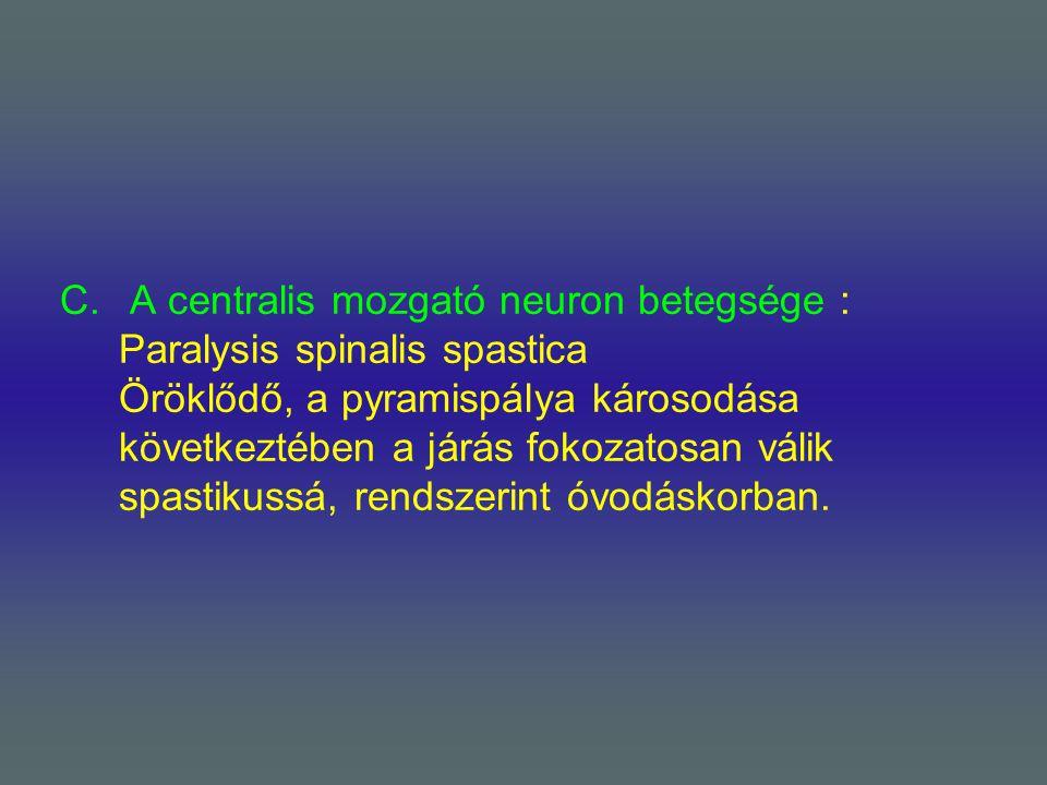 C. A centralis mozgató neuron betegsége : Paralysis spinalis spastica Öröklődő, a pyramispálya károsodása következtében a járás fokozatosan válik spas