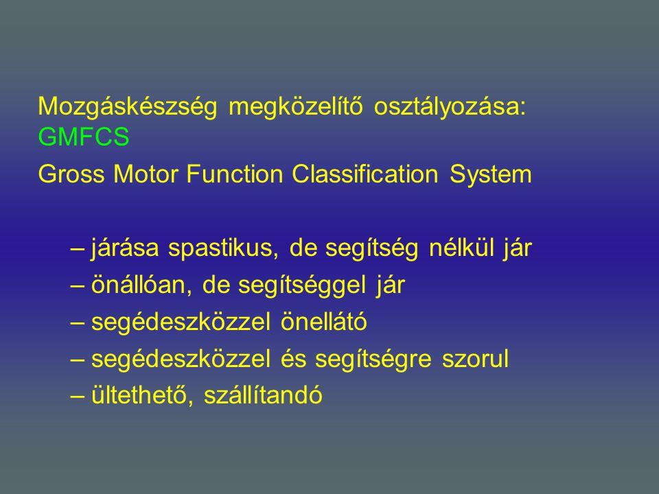 Mozgáskészség megközelítő osztályozása: GMFCS Gross Motor Function Classification System –járása spastikus, de segítség nélkül jár –önállóan, de segít