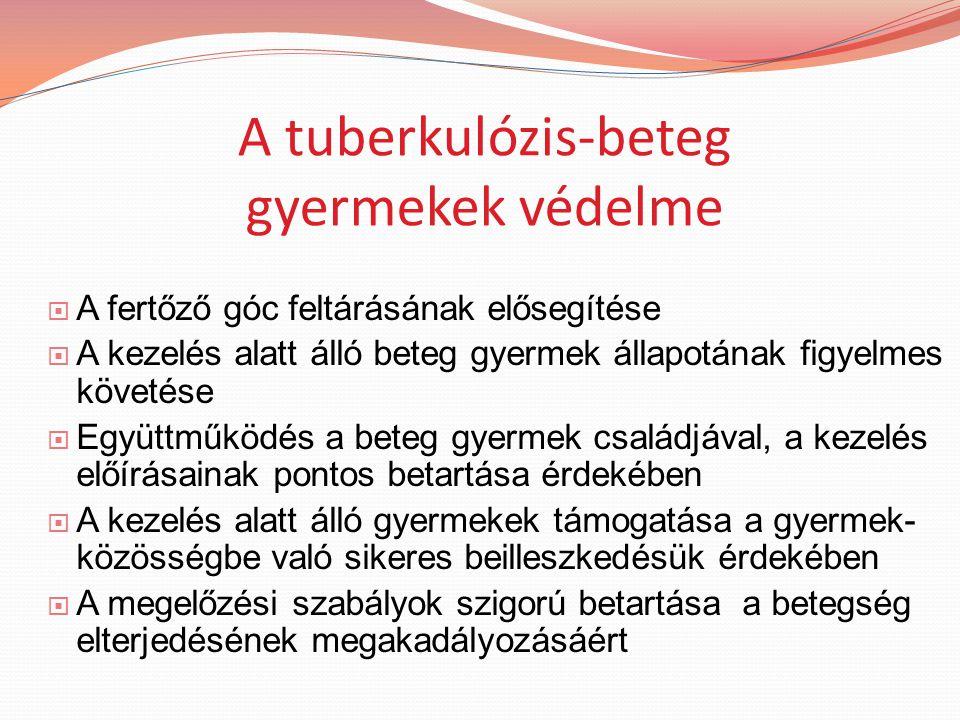 A tuberkulózis-beteg gyermekek védelme  A fertőző góc feltárásának elősegítése  A kezelés alatt álló beteg gyermek állapotának figyelmes követése  Együttműködés a beteg gyermek családjával, a kezelés előírásainak pontos betartása érdekében  A kezelés alatt álló gyermekek támogatása a gyermek- közösségbe való sikeres beilleszkedésük érdekében  A megelőzési szabályok szigorú betartása a betegség elterjedésének megakadályozásáért