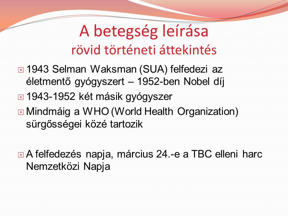 A betegség leírása rövid történeti áttekintés  1943 Selman Waksman (SUA) felfedezi az életmentő gyógyszert – 1952-ben Nobel díj  1943-1952 két másik gyógyszer  Mindmáig a WHO (World Health Organization) sürgősségei közé tartozik  A felfedezés napja, március 24.-e a TBC elleni harc Nemzetközi Napja
