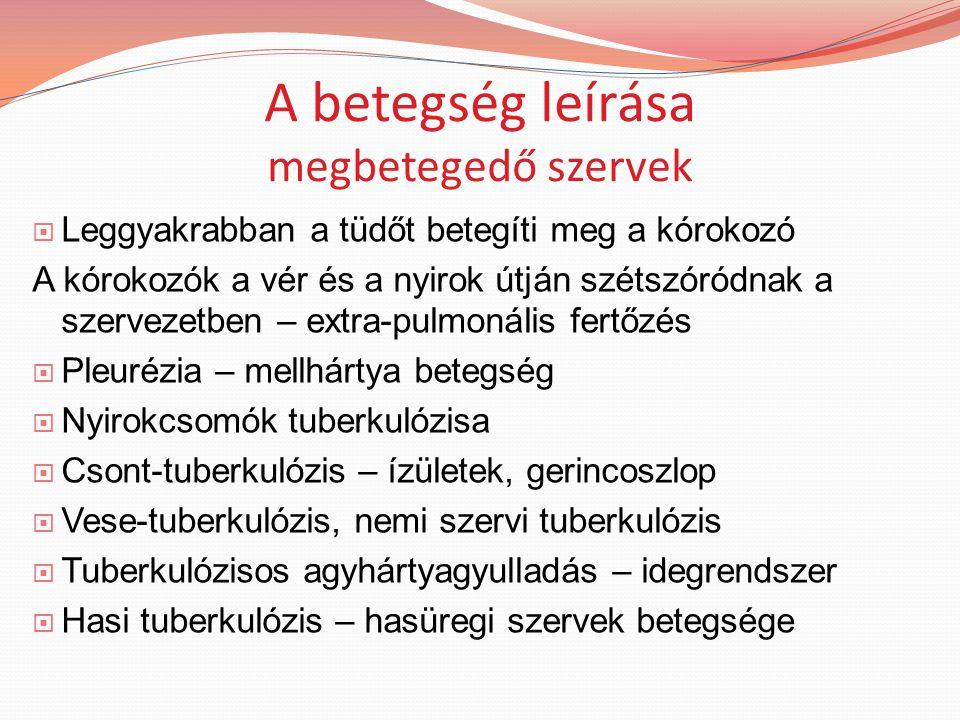 A betegség leírása megbetegedő szervek  Leggyakrabban a tüdőt betegíti meg a kórokozó A kórokozók a vér és a nyirok útján szétszóródnak a szervezetben – extra-pulmonális fertőzés  Pleurézia – mellhártya betegség  Nyirokcsomók tuberkulózisa  Csont-tuberkulózis – ízületek, gerincoszlop  Vese-tuberkulózis, nemi szervi tuberkulózis  Tuberkulózisos agyhártyagyulladás – idegrendszer  Hasi tuberkulózis – hasüregi szervek betegsége