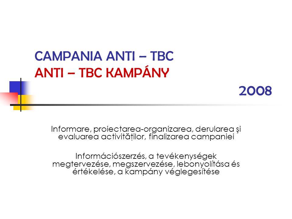 CAMPANIA ANTI – TBC ANTI – TBC KAMPÁNY 2008 Informare, proiectarea-organizarea, derularea şi evaluarea activităţilor, finalizarea campaniei Információ