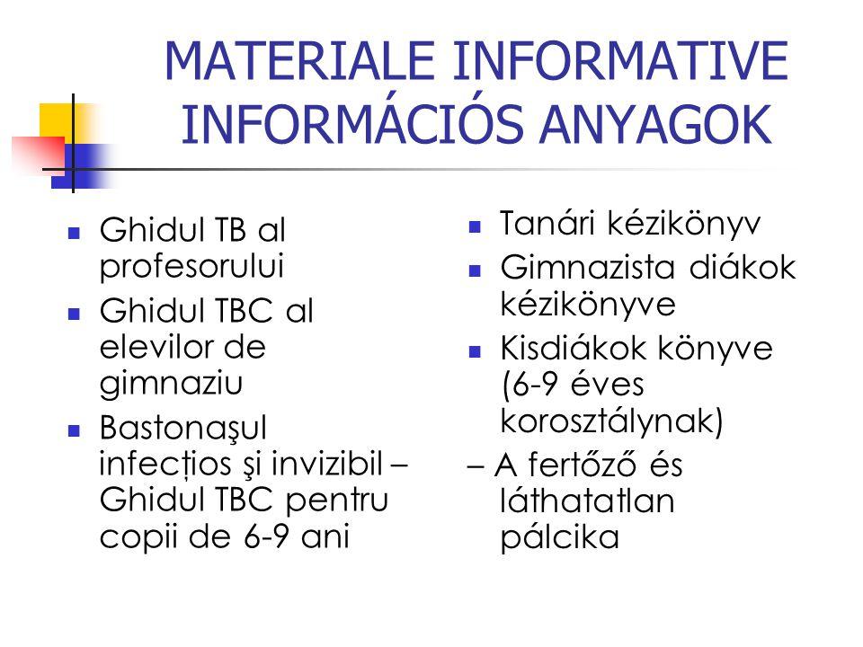 MATERIALE INFORMATIVE INFORMÁCIÓS ANYAGOK Ghidul TB al profesorului Ghidul TBC al elevilor de gimnaziu Bastonaşul infecţios şi invizibil – Ghidul TBC