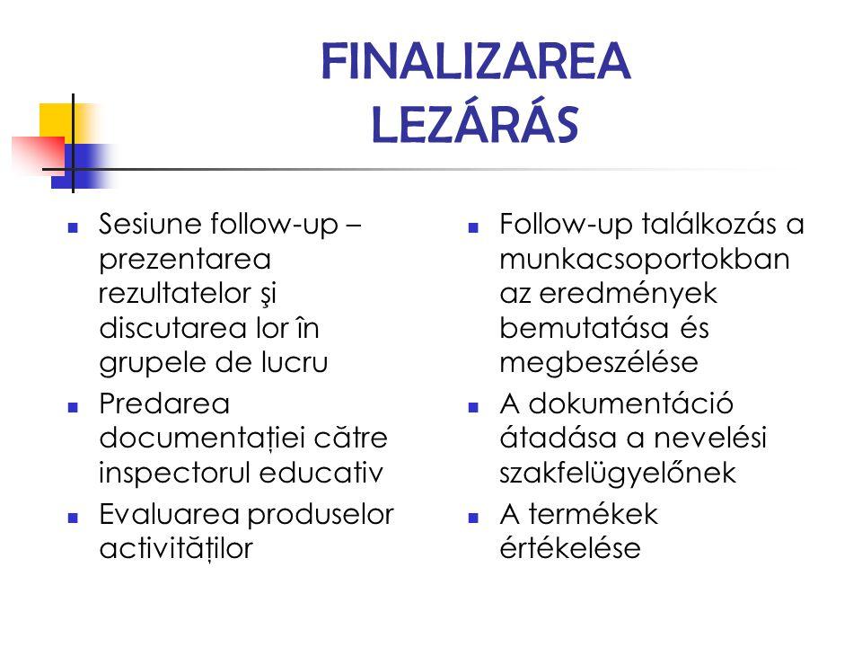 FINALIZAREA LEZÁRÁS Sesiune follow-up – prezentarea rezultatelor şi discutarea lor în grupele de lucru Predarea documentaţiei către inspectorul educat