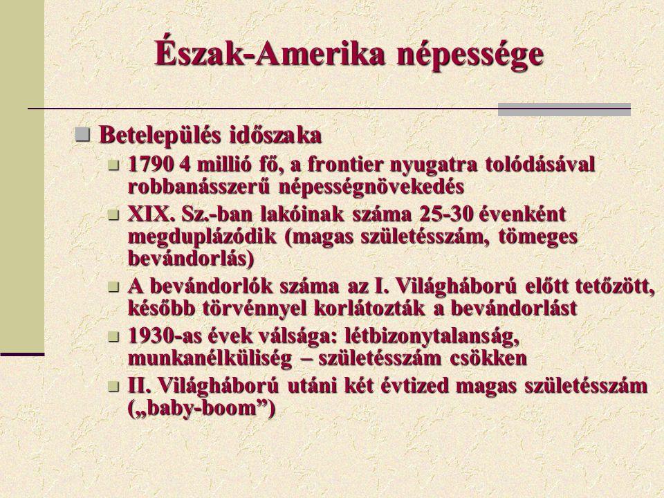 Észak-Amerika népessége Betelepülés időszaka Betelepülés időszaka 1790 4 millió fő, a frontier nyugatra tolódásával robbanásszerű népességnövekedés 17