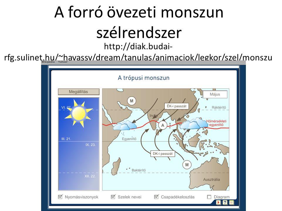 A forró övezeti monszun szélrendszer http://diak.budai- rfg.sulinet.hu/~havassy/dream/tanulas/animaciok/legkor/szel/monszu n/tropusi_monszun.html
