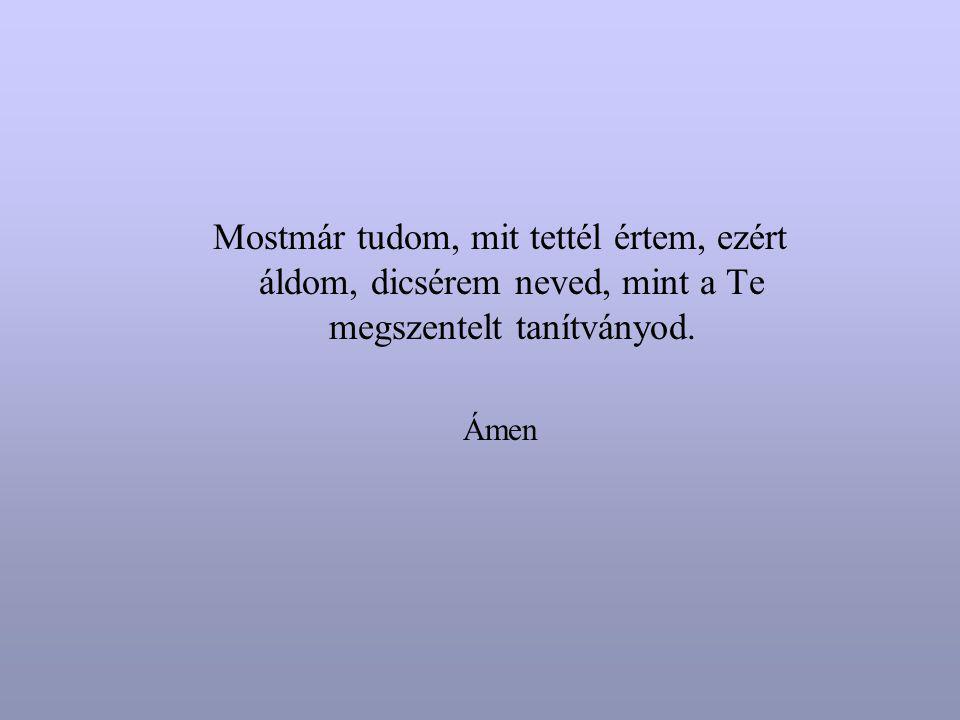 Mostmár tudom, mit tettél értem, ezért áldom, dicsérem neved, mint a Te megszentelt tanítványod. Ámen