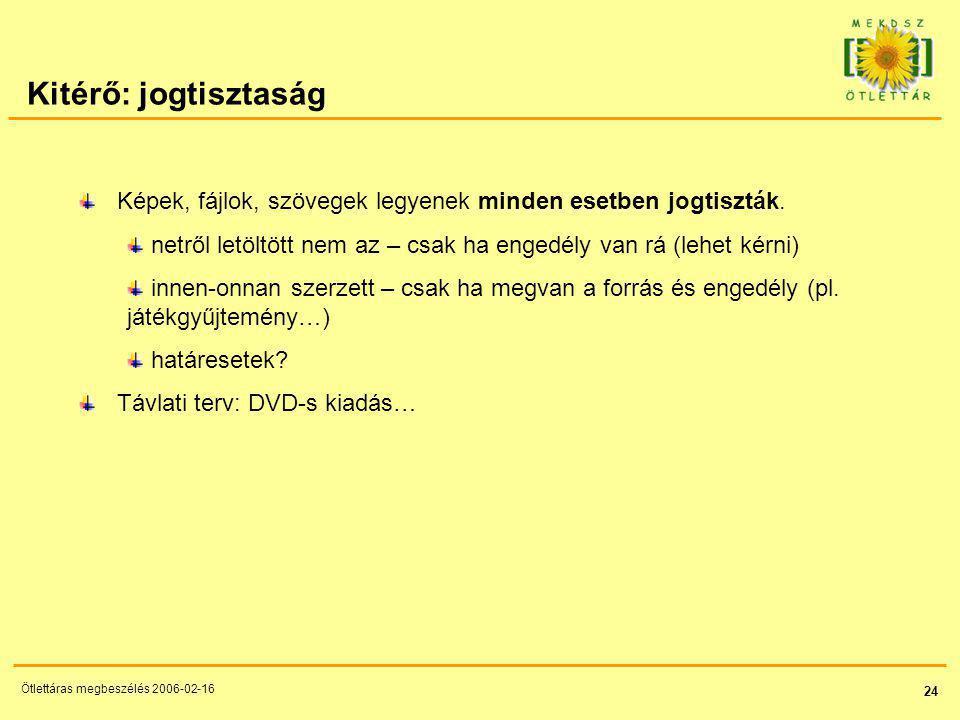 24 Ötlettáras megbeszélés 2006-02-16 Kitérő: jogtisztaság Képek, fájlok, szövegek legyenek minden esetben jogtiszták.