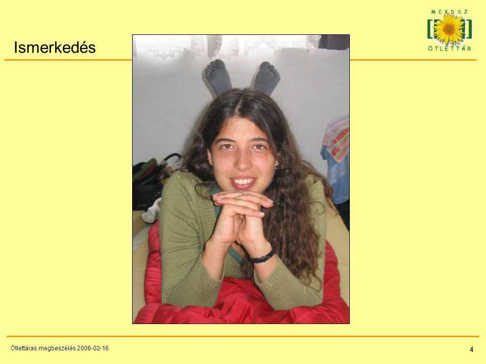 45 Ötlettáras megbeszélés 2006-02-16 Napirend Ismerkedés - 20 p (Ági) Alakítsd ki igényesen az oldalakat.