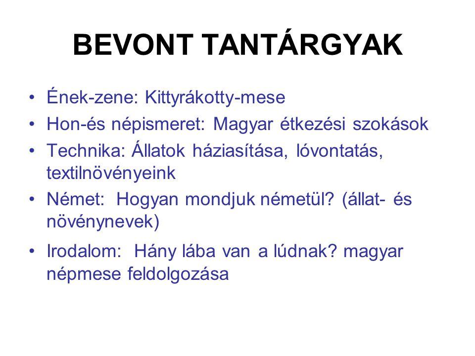 BEVONT TANTÁRGYAK Ének-zene: Kittyrákotty-mese Hon-és népismeret: Magyar étkezési szokások Technika: Állatok háziasítása, lóvontatás, textilnövényeink
